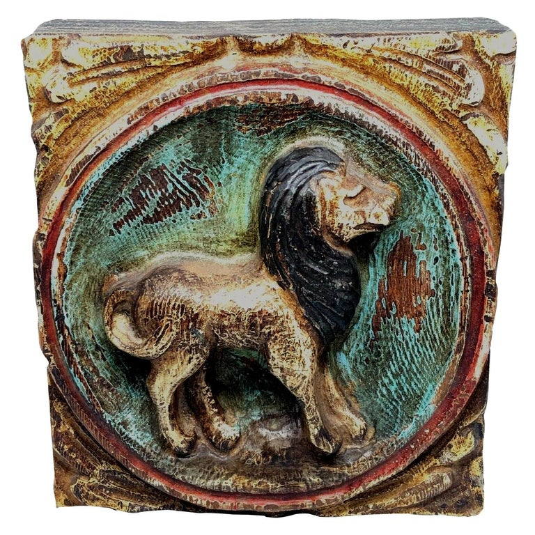 Wooden Zodiac Lion Leo Wall Plaque Relief Brutalist Midcentury, German 1970s For Sale