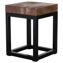 Woodgrain Top Square Side Table by Robert Kuo, Hand Repousse, Limited Edition