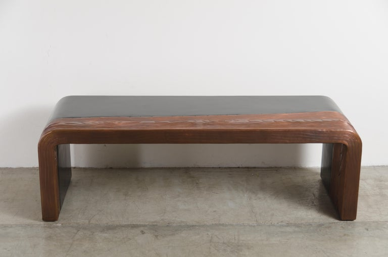 Repoussé Woodgrain with Lacquer Bench by Robert Kuo, Hand Repousse, Limited Edition For Sale