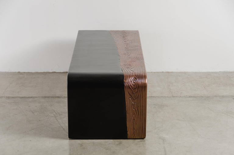 Woodgrain with Lacquer Bench by Robert Kuo, Hand Repousse, Limited Edition In New Condition For Sale In West Hollywood, CA