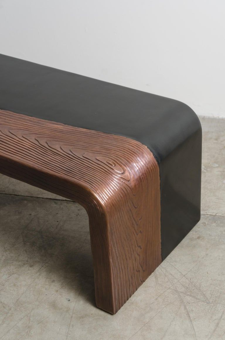 Contemporary Woodgrain with Lacquer Bench by Robert Kuo, Hand Repousse, Limited Edition For Sale