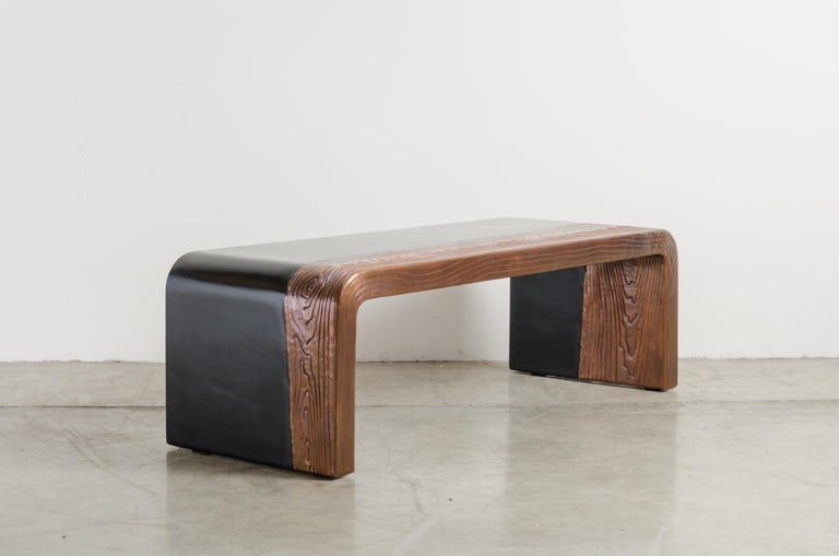 Copper Woodgrain with Lacquer Bench by Robert Kuo, Hand Repousse, Limited Edition For Sale