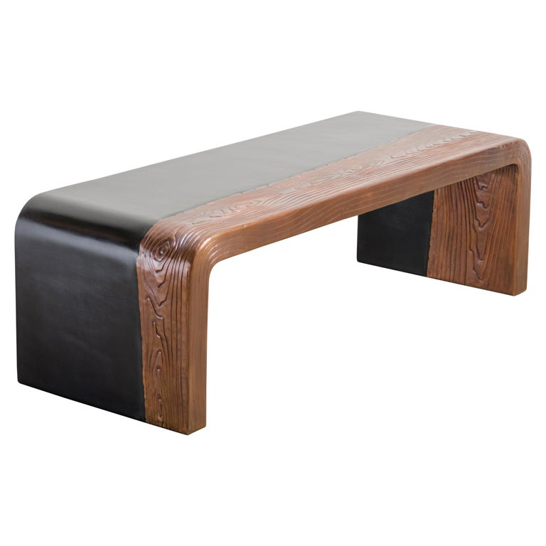 Woodgrain with Lacquer Bench by Robert Kuo, Hand Repousse, Limited Edition For Sale