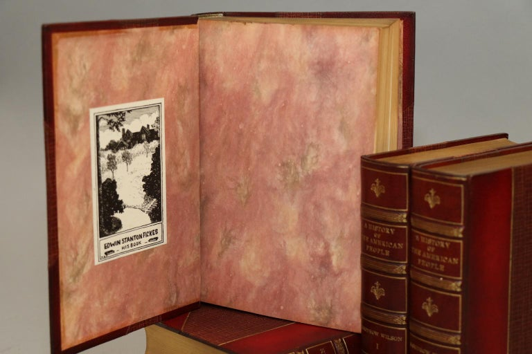 Five volumes. Bound in three-quarter red morocco with top edges gilt, raised bands, and gilt panels on spine generously illustrated with portraits, maps, floor plans, and other rare prints throughout.  Published: Harper and Brothers, New York,