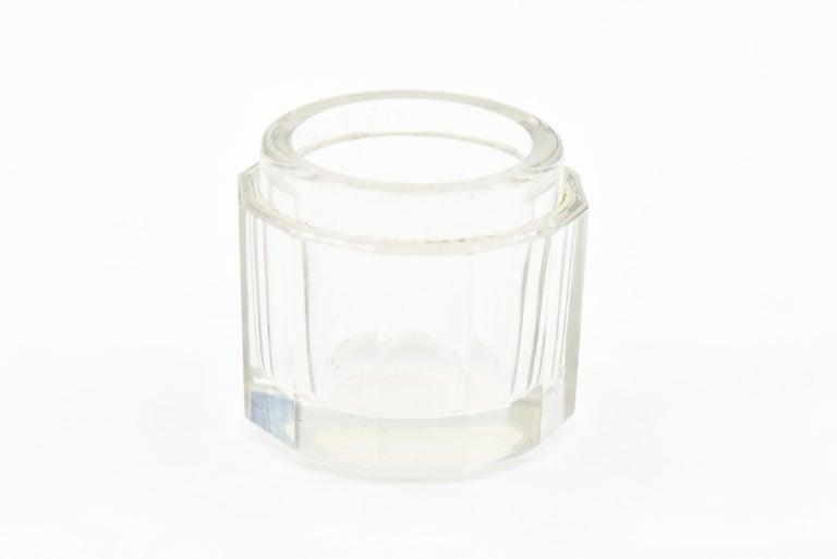 19th Century Woodside Art Nouveau Cherub Rose Garden Sterling Lid Beveled Glass Vanity Jar For Sale
