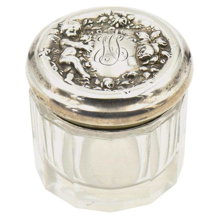 Woodside Art Nouveau Cherub Rose Garden Sterling Lid Beveled Glass Vanity Jar For Sale