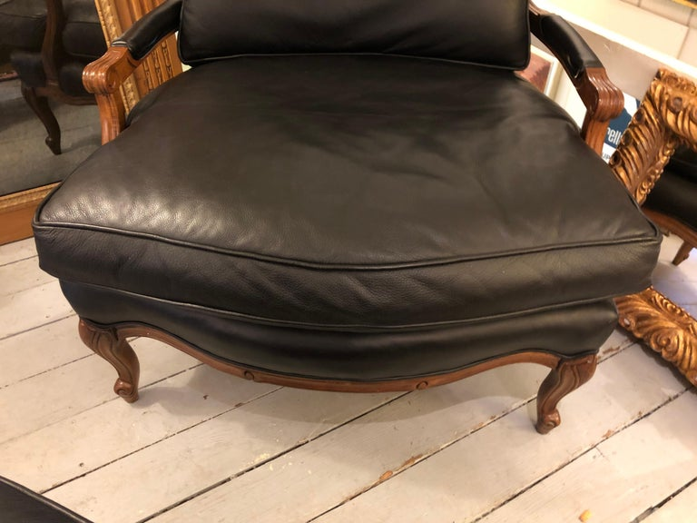 Woodward & Lothrop Top of the Line Black Leather and Walnut Club Chair & Ottoman For Sale 5