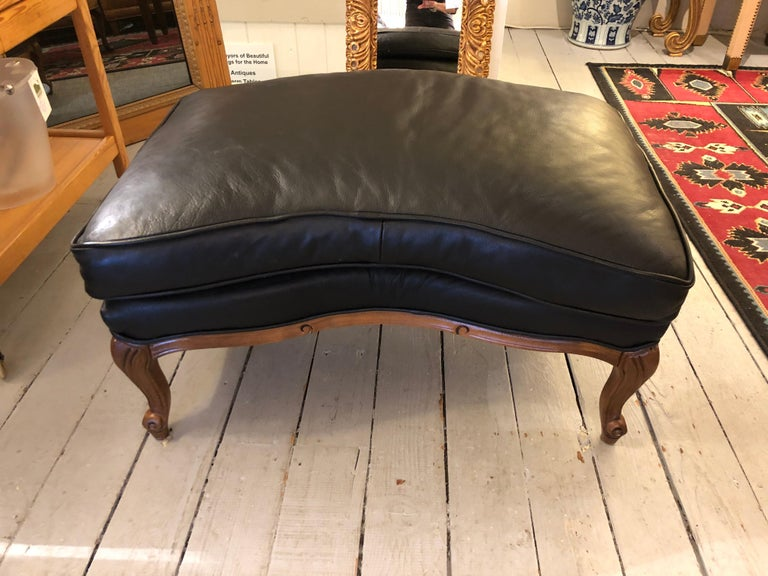 Contemporary Woodward & Lothrop Top of the Line Black Leather and Walnut Club Chair & Ottoman For Sale