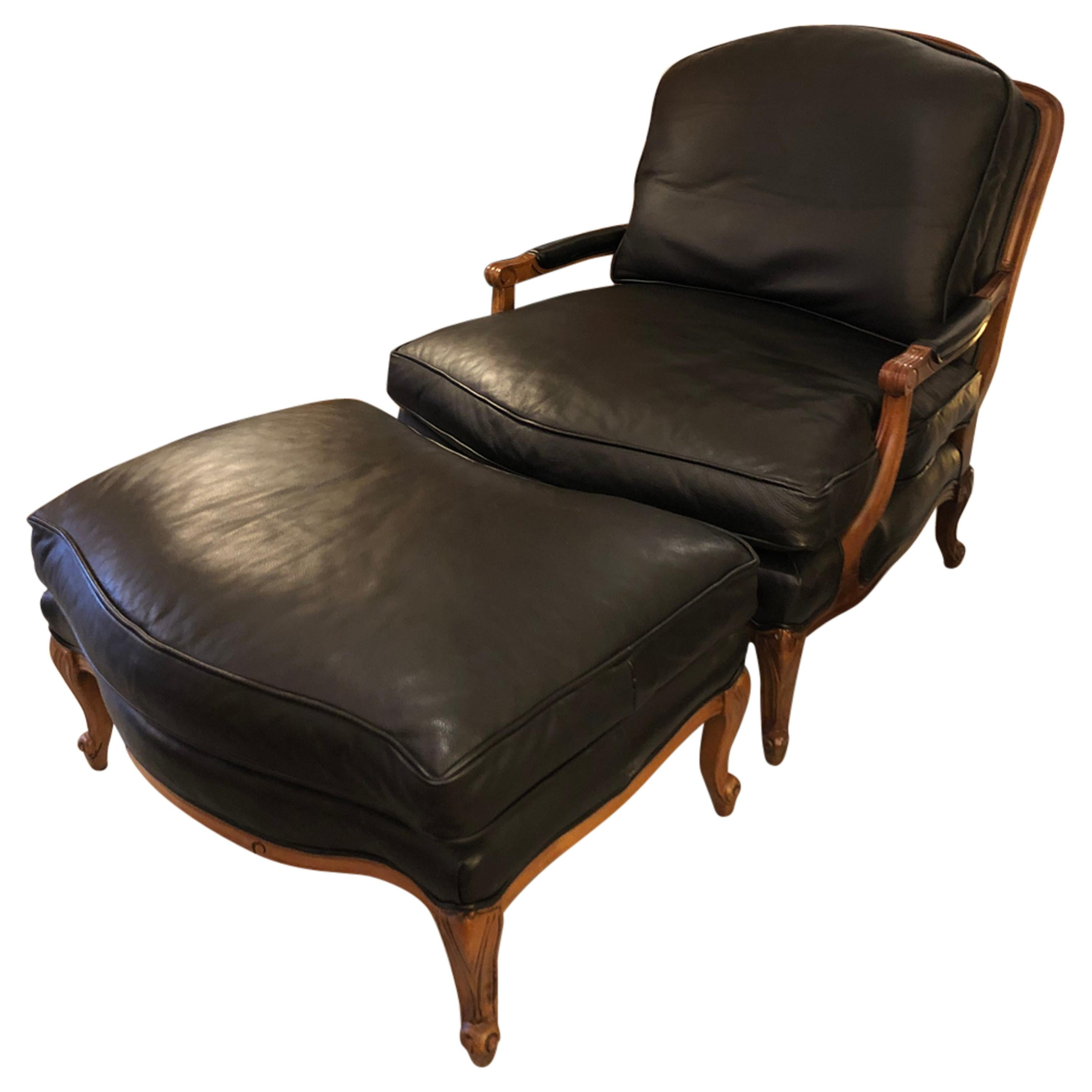 Woodward & Lothrop Top of the Line Black Leather and Walnut Club Chair & Ottoman