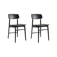 Molteni&C Woody Chair Set of 2 Francesco Meda Design Black Stained Wood