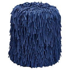 Woody Pouf in Blue Cotton Fringes