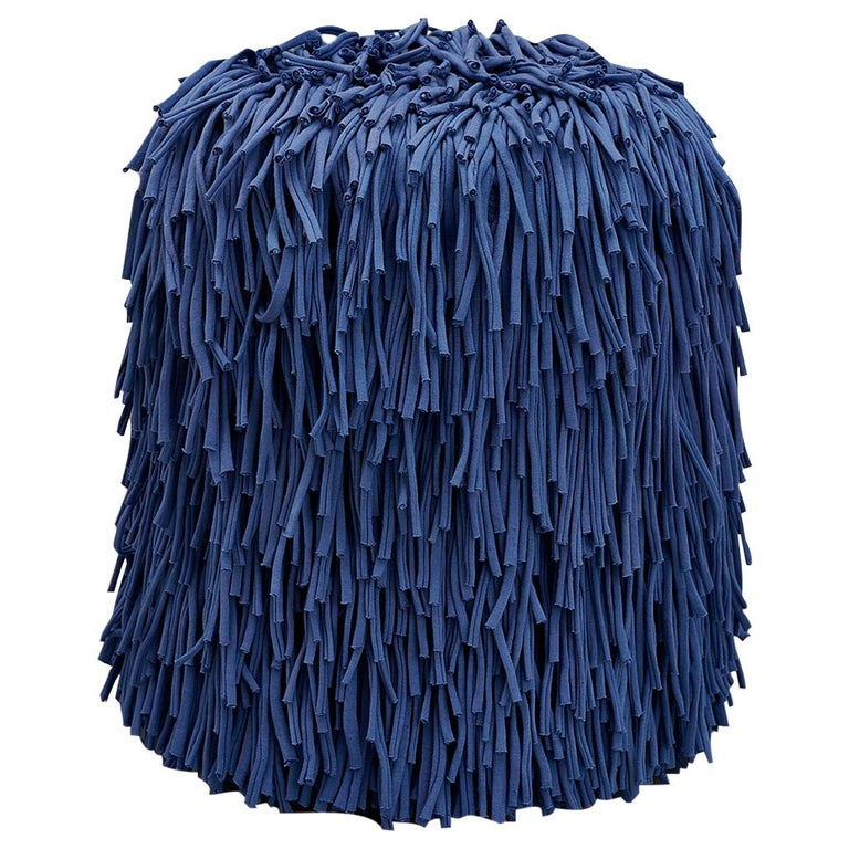 Woody Pouf in Blue Cotton Fringes For Sale