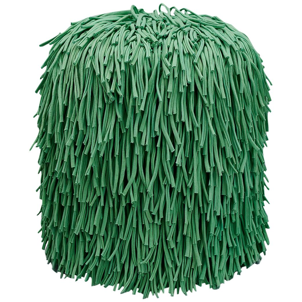 Woody Pouf in Green Cotton Fringes