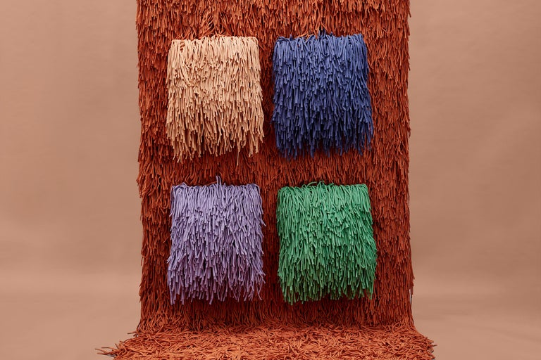 Other Woody Pouf in Orange Cotton Fringes For Sale
