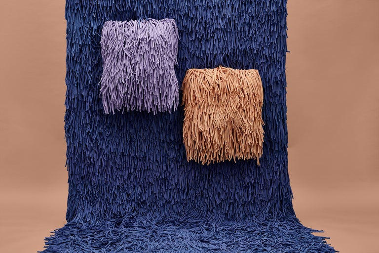 Woody Pouf in Orange Cotton Fringes In New Condition For Sale In Firenze, IT