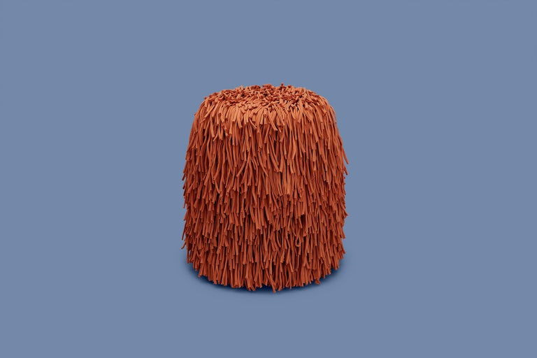 Contemporary Woody Pouf in Orange Cotton Fringes For Sale