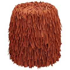 Woody Pouf in Orange Cotton Fringes