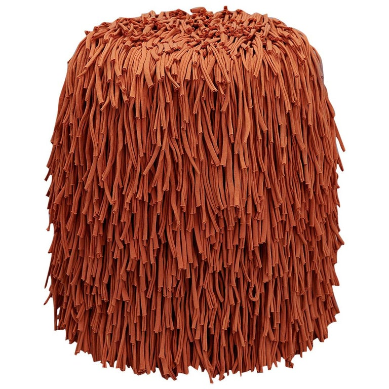 Woody Pouf in Orange Cotton Fringes For Sale