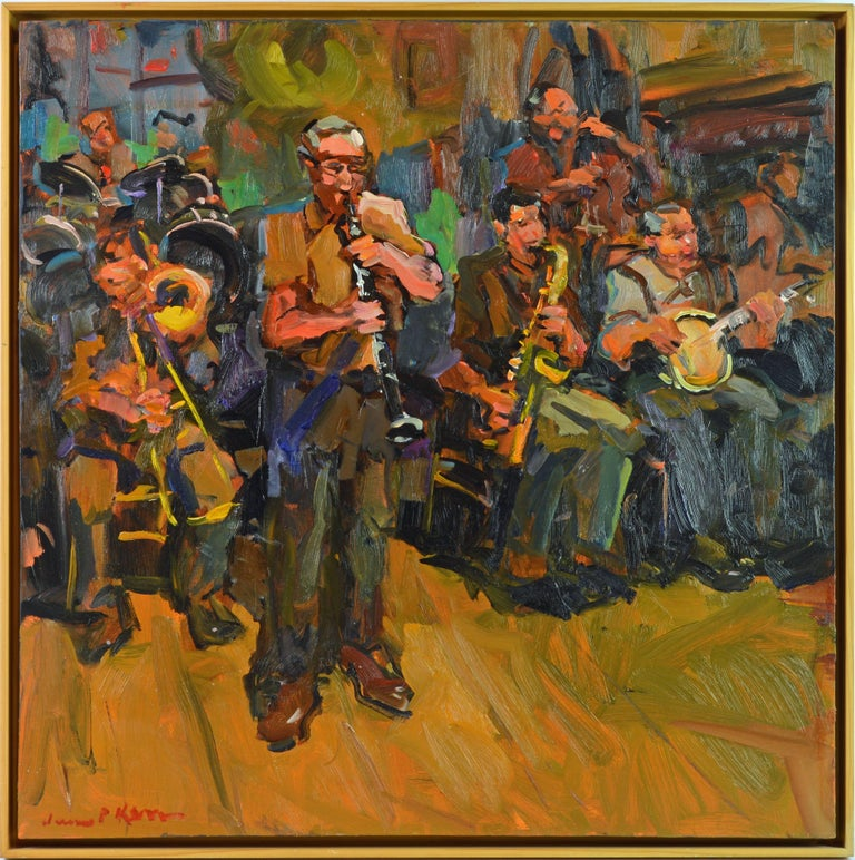'Woody's Band' New Orleans, Modern Impressionist Oil by James P  Kerr,  American