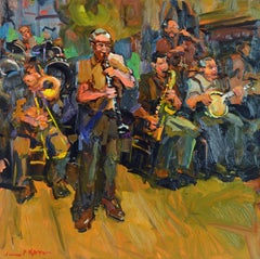 'Woody's Band' New Orleans, Modern Impressionist Oil by James P. Kerr, American