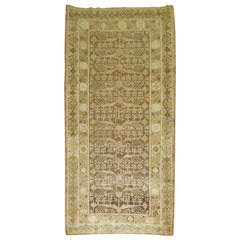 Wool 20th Century Gallery Size Brown Yellow Khotan Pomegranate Design Rug