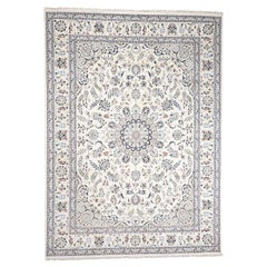 Wool And Silk 250 Kpsi Ivory Nain Hand Knotted Oriental Rug