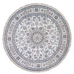 Wool and Silk 250 KPSI Ivory Nain Hand Knotted Round Oriental Rug