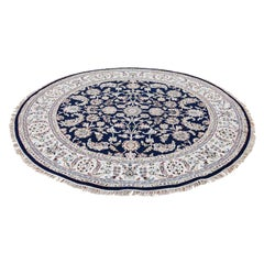 Wool and Silk 250 KPSI Navy Nain Hand Knotted Oriental Round Rug