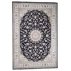 Wool and Silk 250 Kpsi Navy Nain Hand Knotted Oriental Rug