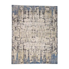 Wool and Silk Abstract with Tree Bark Design Oriental Rug