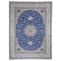 Wool and Silk Blue Persian Nain 400 KPSI Signed Habibian Hand Knotted Oriental