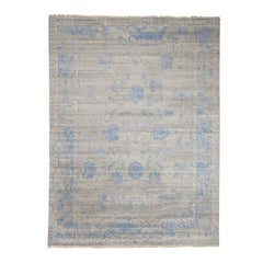 Wool and Silk Broken Agra Design Hand Knotted Oriental Rug