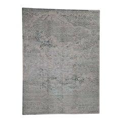 Wool and Silk Broken Heriz Design Hand Knotted Oriental Rug