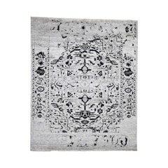 Wool and Silk Broken Persian Heriz Design Hand Knotted Oriental Rug