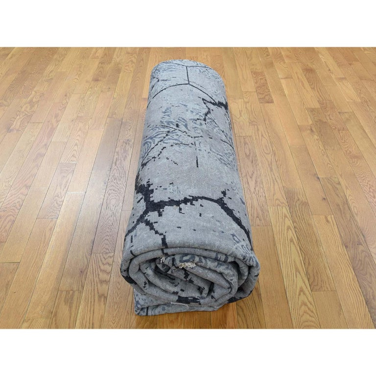 Wool and Silk Earth Design Hand Knotted Oriental Rug For Sale 7