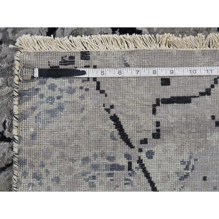 Wool and Silk Earth Design Hand Knotted Oriental Rug For Sale 9