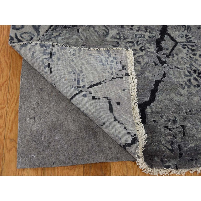 Wool and Silk Earth Design Hand Knotted Oriental Rug For Sale 2