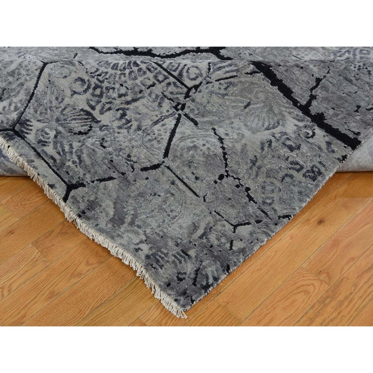 Wool and Silk Earth Design Hand Knotted Oriental Rug For Sale 4