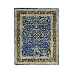 Wool and Silk Hand Knotted Abrash Oriental Rug