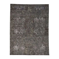 Wool and Silk Hand Knotted Abstract Design Modern Rug