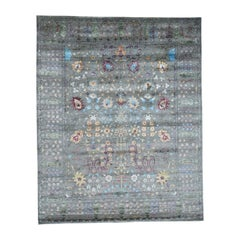 Wool and Silk Hand Knotted Arts & Crafts Design Oriental Rug