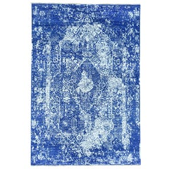 Wool and Silk Hand Knotted Broken Persian Design Oriental Rug