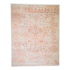 Wool and Silk Heriz Broken Design Hand Knotted Oriental Rug