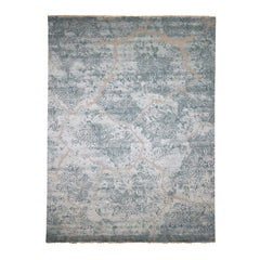 Wool and Silk Hi-Low Pile Hand Knotted Oriental Rug