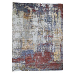 Wool and Silk Hi-Low Pile Modern Abstract Design Hand Knotted Rug