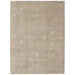 Wool and Silk Modern Design Tibetan Rug from Nepal in Neutrals and Earth Tones