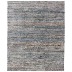 Fine Modern Rug in Solid design with Variegated Blue, brown, Tan, Taupe & Gray