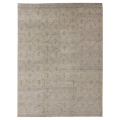Wool and Silk Modern Tibetan Rug from Nepal in Neutrals and Earth Tones