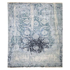 Wool and Silk Persian Tabriz Broken Design Hand Knotted Oriental Rug