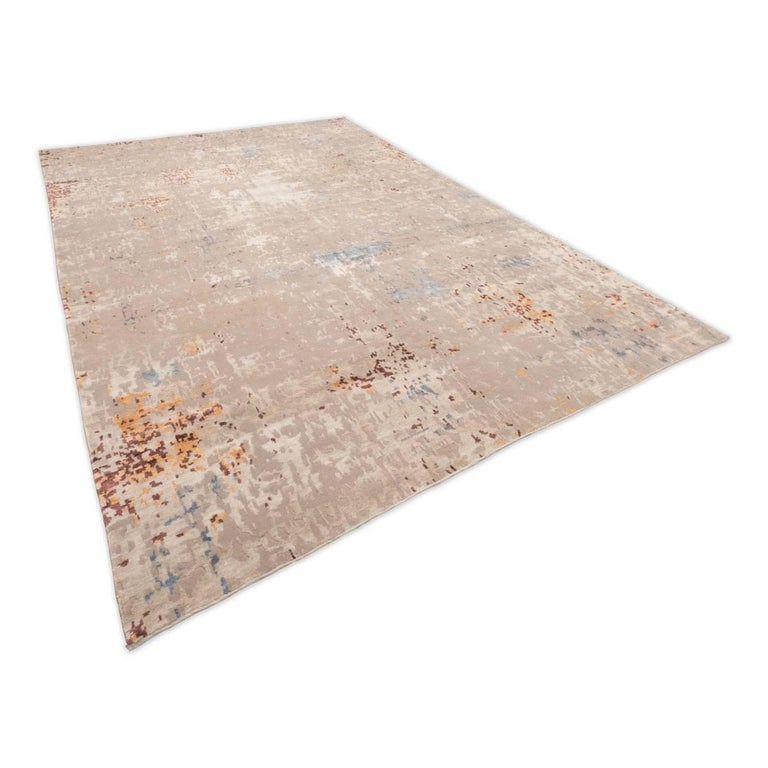 Modern Wool and Silk Rug with Abstract Design in Beige Tones For Sale